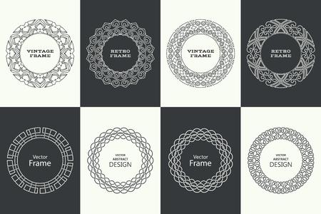 Set of monogram line vintage frames. Greeting cards. Wedding invitations. Retro style. Stock fotó - 124096278
