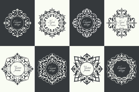 Set of circular baroque patterns. Round floral ornaments. Vintage frames. Greeting card. Wedding invitation. Retro style.