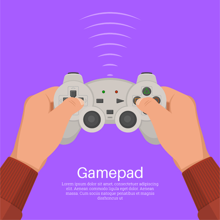 Hands operate the game controller. Equipment for video games. Digital entertainment. Concept of leisure, entertainment. Иллюстрация