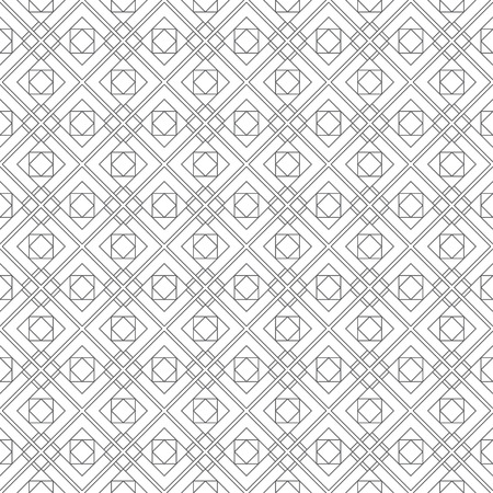 Seamless pattern. Modern stylish linear texture. Regularly repeating geometrical tiles with squares, rhombuses, triangles.