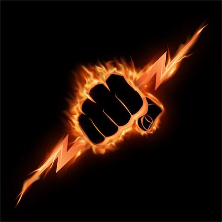 Die brennende Faust drückt einen Blitz zusammen. Die Vektorillustration, die Kraft, die Macht, symbolisiert.
