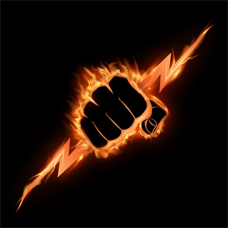 The burning fist squeezes a lightning.The vector illustration symbolizing force, the power.