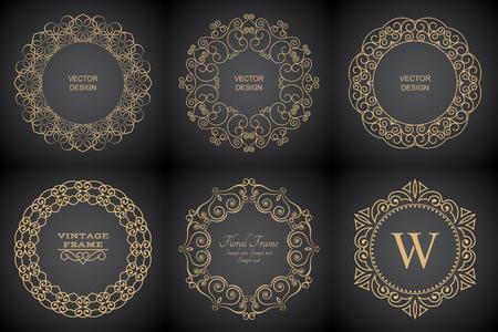 Set of monogram line vintage frames. Greeting cards. Wedding invitations. Retro style.