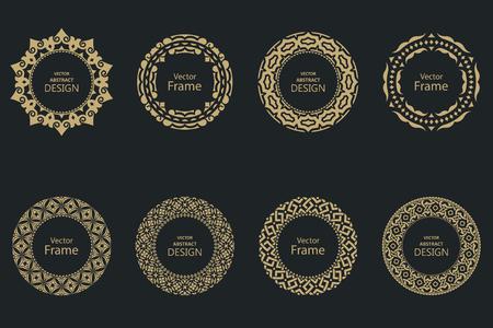 Set of circular baroque patterns. Round floral ornaments. Vintage frames. Greeting card. Wedding invitation. Retro style. Stock fotó - 124096664