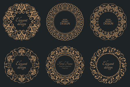 Set of circular baroque patterns. Round floral ornaments. Vintage frames. Greeting card. Wedding invitation. Retro style.