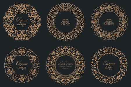 Set of circular baroque patterns. Round floral ornaments. Vintage frames. Greeting card. Wedding invitation. Retro style. Stock fotó - 124096663