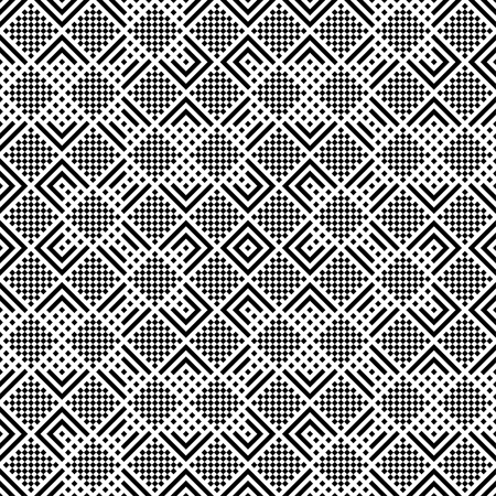 Modern stylish texture consisting of rhombuses, corners, triangles, which form alternating repeating checkered geometrical ornaments.  イラスト・ベクター素材