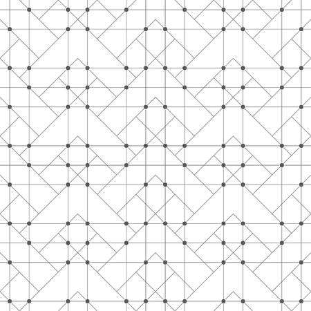 Seamless pattern. Abstract geometrical background. Original linear techno texture with repeating thin lines, dots, triangles, squares, corners.