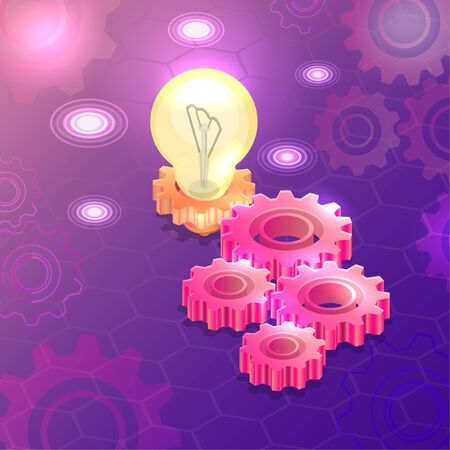 Gear wheels and the burning lamp. Innovative technologies. Idea business. Technical progress. Digital modern background. Colourful elements of design.3D. Isometry. Vector illustration. Stock Illustratie