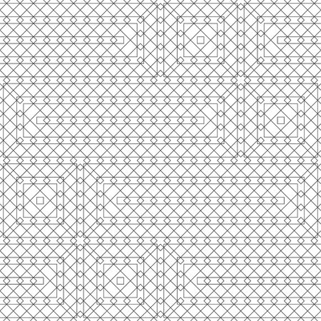 Seamless pattern. Modern elegant texture. Regularly repeating traditional geometrical tiles with linear rectangle and square shapes, rhombuses, triangles. Thin line. Vector element of graphical design Stock fotó - 127199359