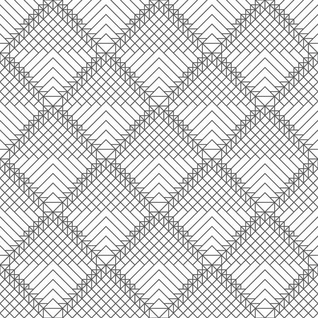 Seamless pattern. Modern elegant texture. Regularly repeating traditional geometrical tiles with striped rhombuses, triangles, corners. Thin line. Vector element of graphical design