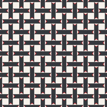 Seamless pattern. Repeating modern geometrical texture consisting of strips, small triangles, squares. Vector element of graphical design