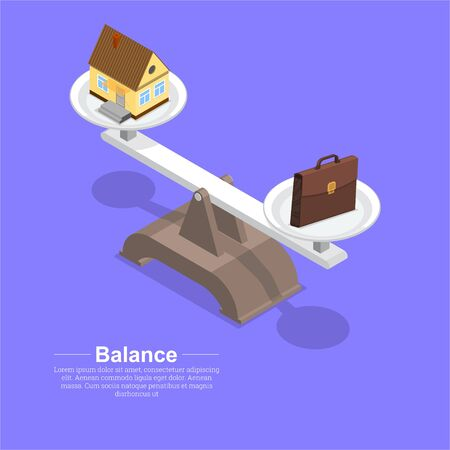 Respect for balance between the house and work. Balance between business and family. Vital harmony.3D. Isometry. A vector illustration in flat style. Stock Illustratie