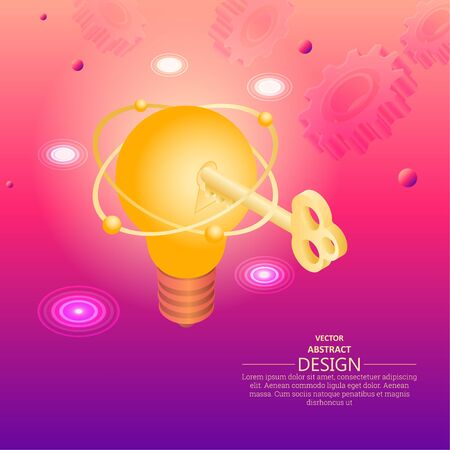 Key to the innovative idea. Discovery.Technical progress. Creativity of thinking.3D. Isometry. Digital modern background. A vector illustration in flat style.