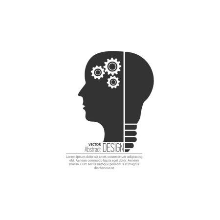 The concept of creativity of the idea in the head. Innovative mind. Creative thoughts. The place for the text. Minimalism. A vector illustration in flat style. Foto de archivo - 127060592