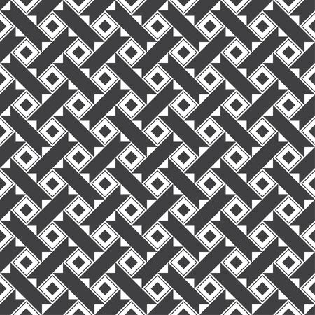 Seamless pattern. Repeating modern geometrical texture consisting of strips, small triangles, rhombuses, diamonds. Vector element of graphical design Stock Illustratie