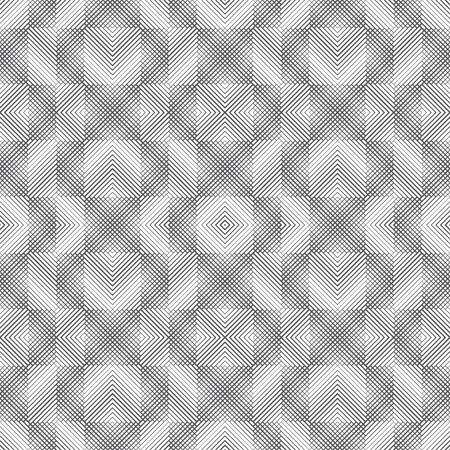 Vector seamless pattern. Infinitely repeating modern geometrical texture consisting of intersecting thin lines different thickness which form linear background