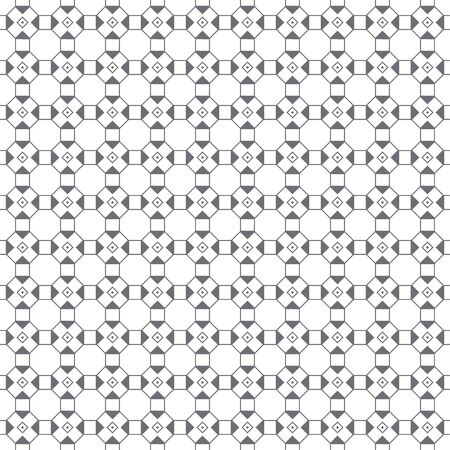 Vector seamless pattern. Infinitely repeating simple elegant texture consisting of outline hexagons, squares, triangles, rhombuses. Geometrical cover surface.