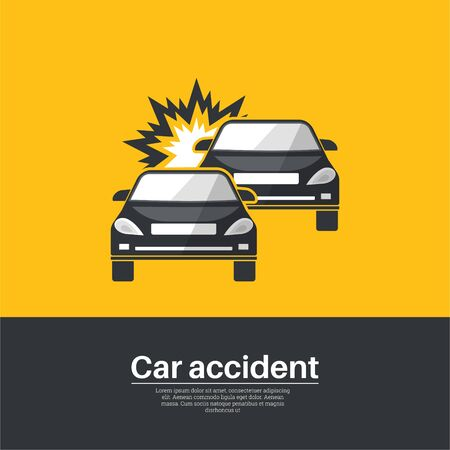 Car accident. Crash of two  cars. The concept of vigilance and attention on roads. Poster. Minimalism. Vector illustration in flat style. Ilustração