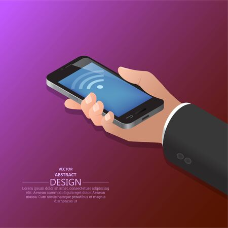 Hand holding the smartphone. Vector illustration in isometric, 3D style. 일러스트