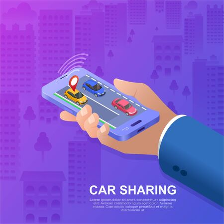 Car sharing.Good bargain. Economy of means.Hand with smartphone. Conceptual background.3D Isometry. Poster. Vector illustration. 일러스트