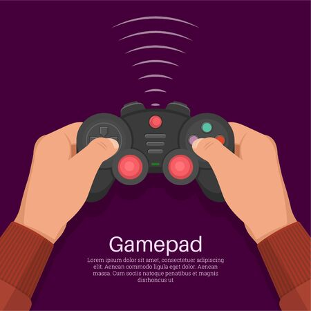 Hands operate the game controller. Equipment for video games. Digital entertainment. Concept of leisure, entertainment. A vector illustration in flat style.