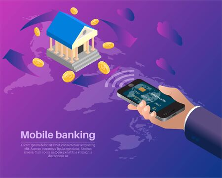 Mobile banking.The hand of the user carries out monetary operations from the smartphone.Conceptual background. Poster.3D. Isometry. Vector illustration.