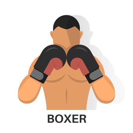 The boxer's icon on the isolated white background. The fighter with a shadow. A vector illustration in flat style. Archivio Fotografico - 133150995