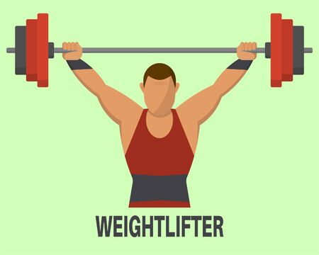 Weightlifter's icon. The weight-lifter lifts a bar. Sports concept. A vector illustration in flat style. Illustration