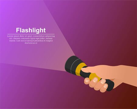 The hand holds the flashlight on. The notion of search. Place for text.3D.Izometric.Vector illustration in modern flat style. Ilustração Vetorial