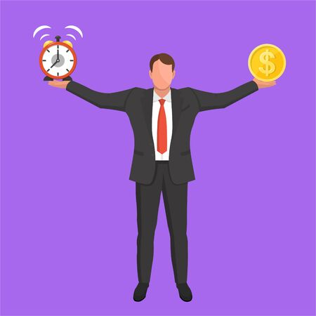 A businessman holds an alarm clock and a money coin.Concept time and money.Balance between work and the given time.Business concept.Vector illustration in flat style.