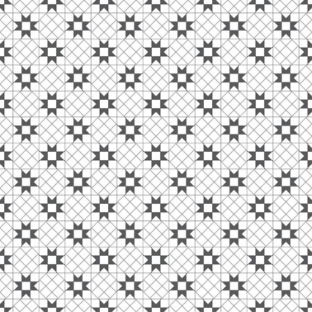 Vector seamless pattern. Modern stylish texture with intersecting thin lines which form regularly repeating tiled linear grid with rhombuses, squares, crosses. Abstract geometric background