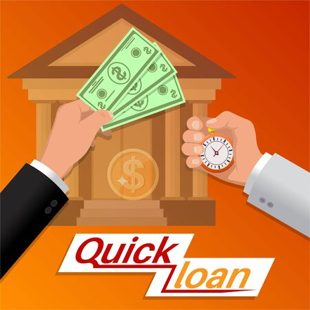 Fast money. Quick credit. Business concept. Bank financing. Colorful banner. Vector illustration in a flat style.