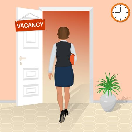 A young woman goes to an interview. The girl gets a job. Work vacancy. Open door with a job invitation. Concept of employment. Vector illustration in a flat style.