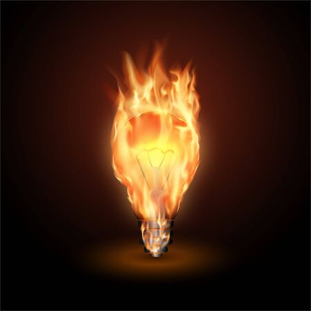 Burning lamp in a flame. Innovative technology. Hot idea. Creative thinking. Vector realistic illustration.