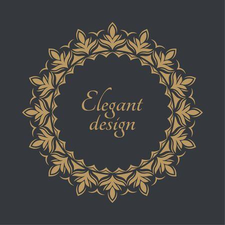 Monogram line vintage frame. Greeting cards. Wedding invitations. Retro style, template, labels and badges Illusztráció