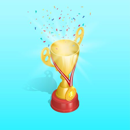 Championship cup with gold medal and confetti. First prize of the winner.Award for a victory.3D. Isometry. An element for design.Vector illustration.