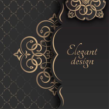 A golden congratulatory frame in Arabic style. Decorative ancient ornament. The card for invitations. A flower shape for the text. Vector illustrations. Design elements. Illusztráció