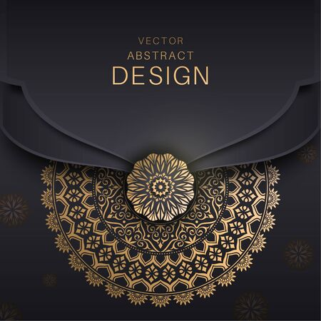 Mandala background. A golden congratulatory frame in Arabic style. Decorative ancient ornament. The card for invitations. A flower shape for the text. Vector illustrations. Design elements.