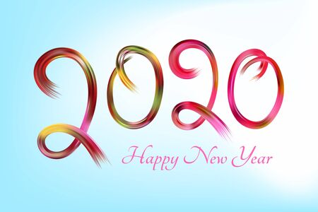 Happy New Year 2020.The text in the form of dabs a brush.Multicolored digits. Holiday date. Elements for design. Vector festive illustration.
