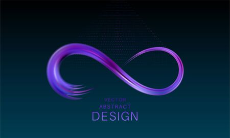 The shining infinity symbol.An object as a brush stroke. Abstract background of an infinity sign. Dynamic curve. Element for design. Vector illustration.