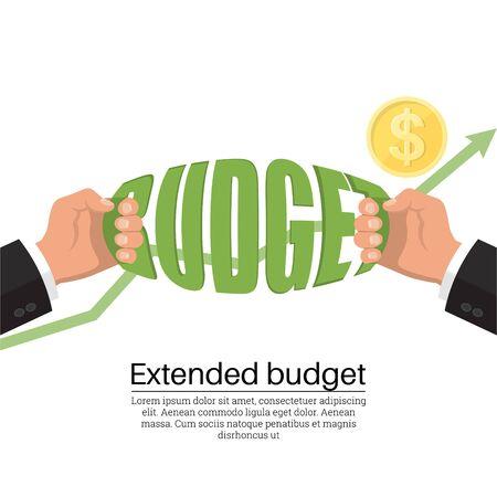 Extended budget. Economic growth. Cash stock. Business concept. Flat style banner. Vector illustration. Illusztráció