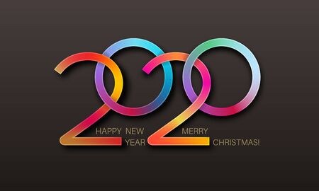 Happy New Year 2020.Multicolored digits. Holiday date. Elements for design. Vector festive illustration. Illusztráció