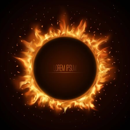 Fiery banner.Flame in a circle with sparks.A glowing frame with space for text. Vector illustration.