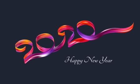 Happy New Year 2020.Text in the form of a tape. Multicolored digits. Holiday date. Elements for design. Vector festive illustration.
