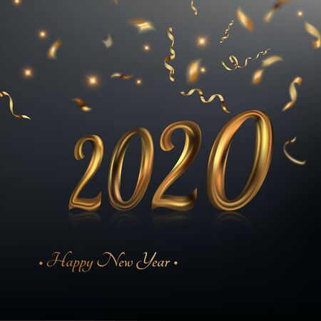 Happy New Year 2020. An abstract festive background with the gold text and the serpentine.3D. The falling gold tinsel. The shining vector illustration for maps, invitations, posters, banners, calendars, festive jewelry.