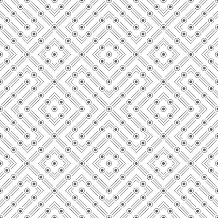 Seamless pattern. Infinitely repeating modern stylish texture consisting of thin lines and dots which form cross and rhombus shapes. Vector element of graphical design
