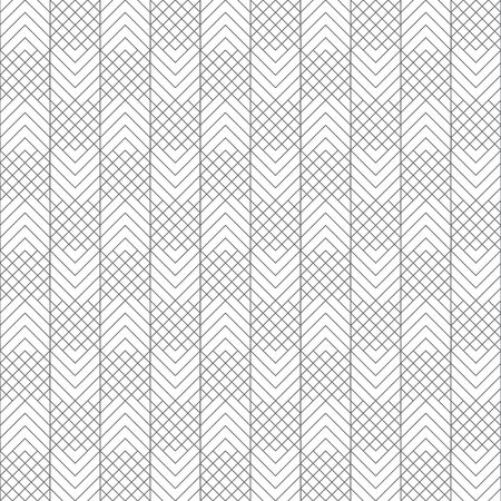 Vector seamless pattern. Infinitely repeating modern geometrical texture consisting of intersecting thin lines which form checkered linear background with zigzag shapes. rhombus lattices
