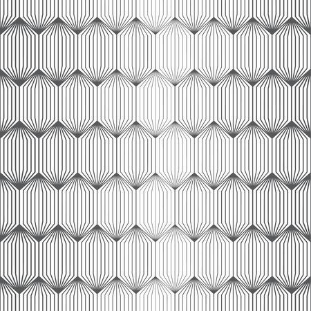 Vector seamless pattern. Infinitely repeating modern geometrical stylish texture. Hexagonal linear grid with striped hexagons with halftone effect.