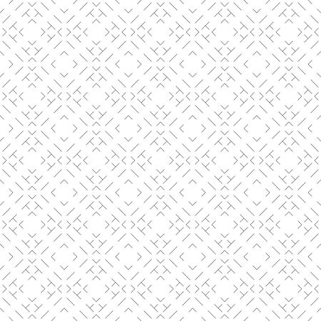 Seamless pattern. Simple linear texture. Dashed line. Monochrome. Repeating thin lines, rhombuses, zigzags, corners. Backdrop. Web. Vector element of graphic design for your project Illusztráció